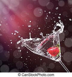 szkło, bryzgając, napój, martini, poza
