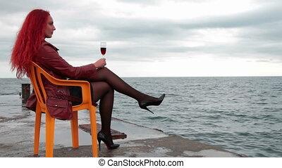 szkło, cieszący się, kobieta, wino