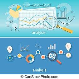 szkło, dane, powiększający, analiza