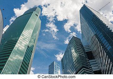szkło, drapacze chmur, izby niemieszkalne, środek, handlowy