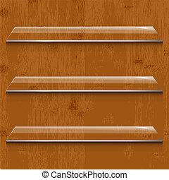 szkło, drewno, tło, półka