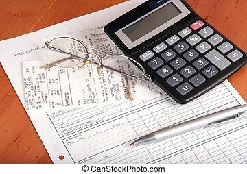 szkło, finansowy, halabarda, pióro, kalkulator, pojęcie