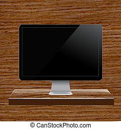 szkło, komputer, półka