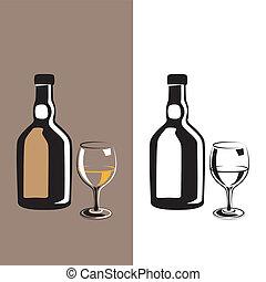 szkło, koniak, butelka