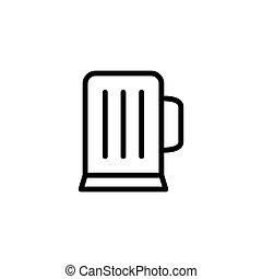 szkło, kreska, ikona, piwo, cienki