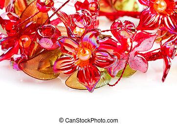 szkło, kwiaty, czerwony