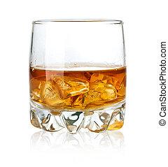 szkło, lód, whisky