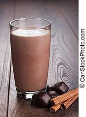 szkło, milkshake, cynamon, czekolada