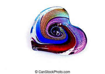 szkło, multi-kolorują, serce