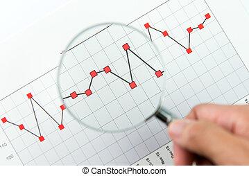 szkło, na, finansowy, powiększający, wykres