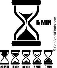 szkło, piasek, wektor, chronometrażysta