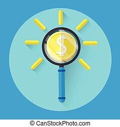 szkło, pieniądz, powiększający, barwny, ikona