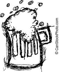 szkło piwa, w, doodle, styl