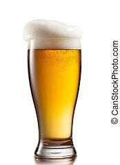 szkło, piwo, biały, odizolowany, tło