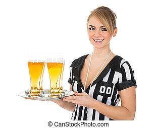 szkło, piwo, sędzia, samica
