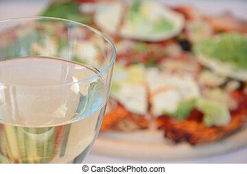 szkło, pizza, wino