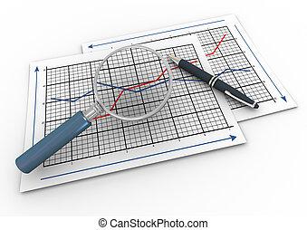 szkło powiększające, 3d, wykres