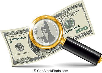 szkło powiększające, dolar