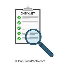 szkło powiększające, i, checklist, icon., wektor,...