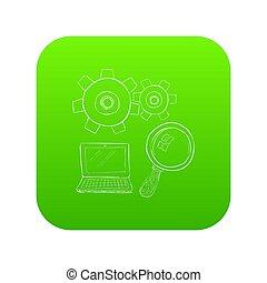 szkło powiększające, laptop, zielony, ikona