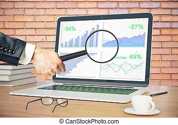 szkło powiększające, na, handlowy, wykres