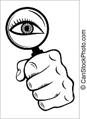 szkło powiększające, z, oko