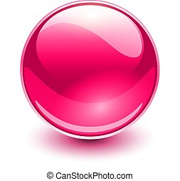 szkło, różowy, kula