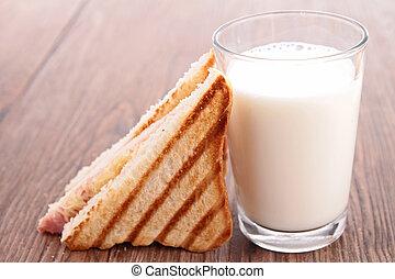 szkło, sandwicz, mleczny