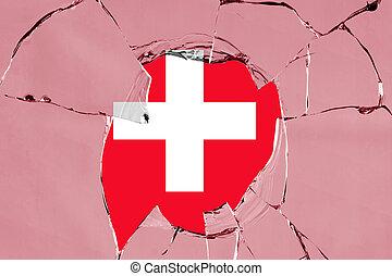 szkło, szwajcaria bandera