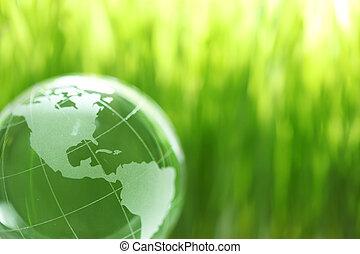 szkło, trawa, ziemia