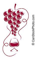 szkło., winogrona, wino