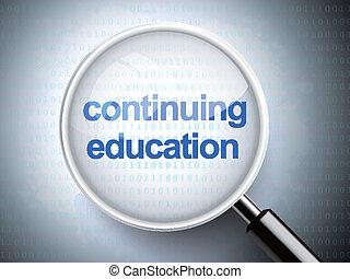 szkło, wykształcenie, kontynuowanie, powiększający, słówko