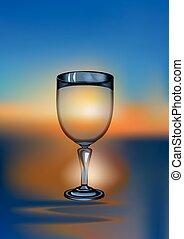 szkło, zachód słońca, wino