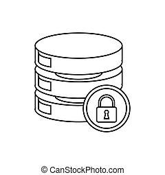 szkic, środek, urządzenie obsługujące, bezpieczeństwo, dane, sieć