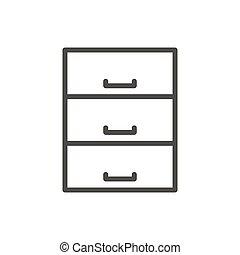 szkic, archive., symbol., baza, vector., kreska, dane, ikona