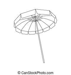 szkic, biały, otwarty, czarnoskóry, parasol plażowy
