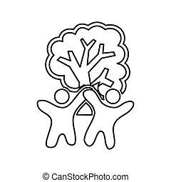 szkic, drzewo, zobowiązanie, razem, teamwork, logo