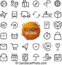 szkic, ikona, set., sieć, i, ruchomy, app, cienka lina, ikony, collection., doręczenie