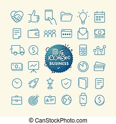 szkic, ikona, set., sieć, i, ruchomy, app, cienka lina, ikony, collection., handlowy