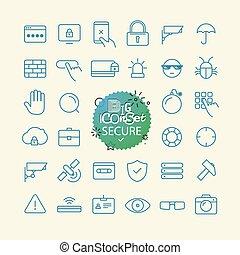 szkic, ikona, set., sieć, i, ruchomy, app, cienka lina, ikony, collection., spokojny