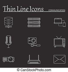 szkic, ikony, komplet, komunikacja, wektor, kreska