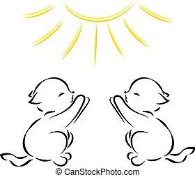 szkic, kociątka, słońce, dwa, wektor, czarne tło, biały, rysunek