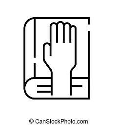szkic, kreska, adjuration, wektor, znak, ilustracja, linearny, symbol., pojęcie, ikona