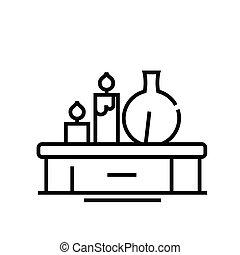 szkic, kreska, aromatheraphy, wektor, znak, ilustracja, linearny, symbol., pojęcie, ikona