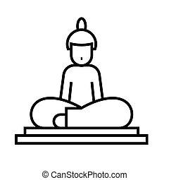 szkic, kreska, wektor, znak, ilustracja, linearny, statua, symbol., pojęcie, ikona, budda