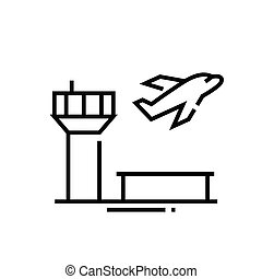 szkic, kreska, wektor, znak, ilustracja, linearny, symbol., pojęcie, ikona, lotnisko