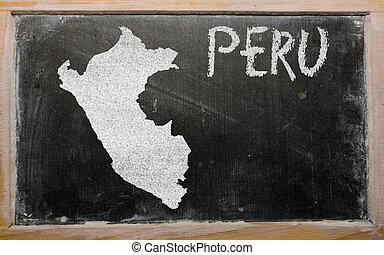 szkic, mapa peru, na, tablica