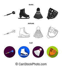 szkic, płaski, styl, symbol, bitmapa, wolant, ciska, komplet, łyżwy, rękawiczka, pień, sport, web., kometka, ikony, game., czarnoskóry, łyżwa, ilustracja, ciska, zbiór, biały