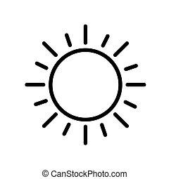 szkic, płaski, white., illustration., minimalny, słońce, wektor, czarnoskóry, biały, odizolowany, prosty, icon.