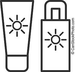 szkic, słońce, odizolowany, sunscreen, tło., czarnoskóry, block., biała lina, ikona